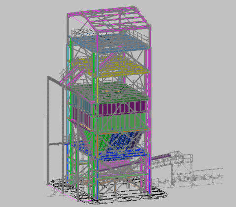 Mill Feed Bin with Structural & Mechanical Arrangements